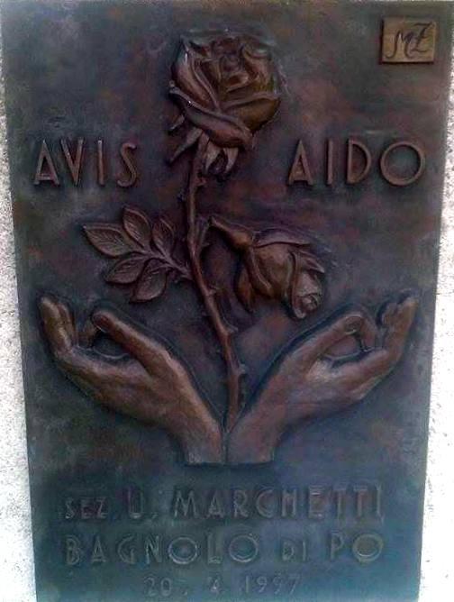 dettaglio, monumento al donatore, Bagnolo di Po