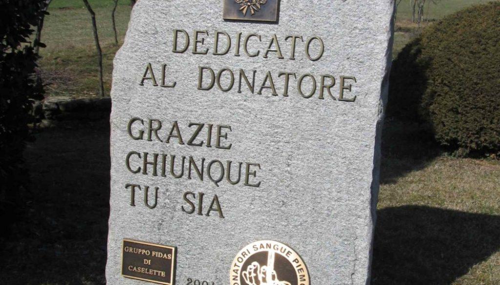 lapide al donatore FIDAS Caselette Torino