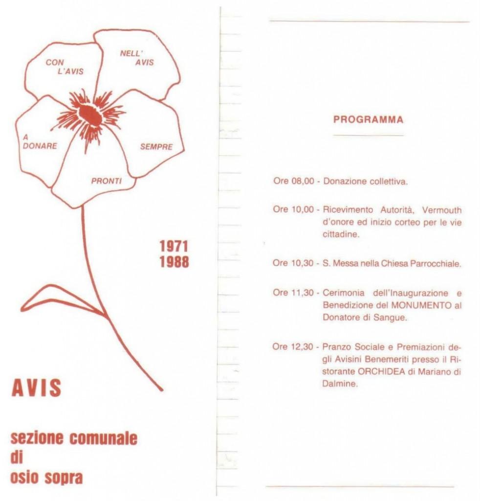 24 aprile 1988 invito per l'inaugurazione del monumento AVIS di Osio Sopra