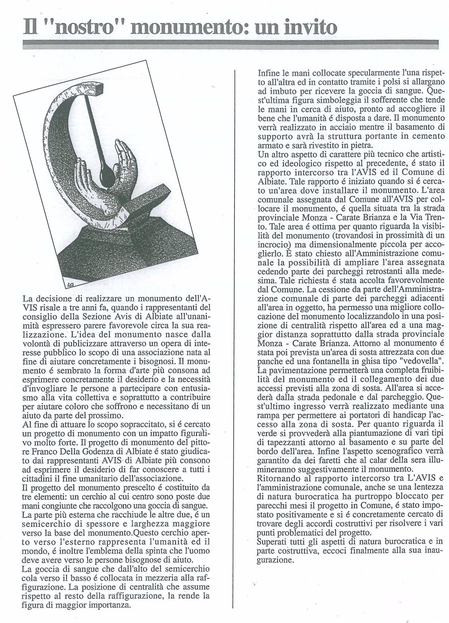 documentazione, monumento al donatore AVIS,, Albiate