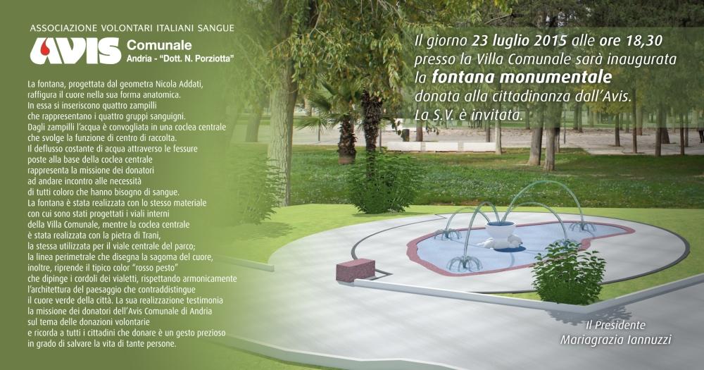 invito, Avis inaugurazione Fontana, Andria