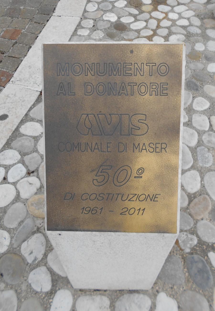 targa, monumento al donatore di sangue, AVIS, Maser